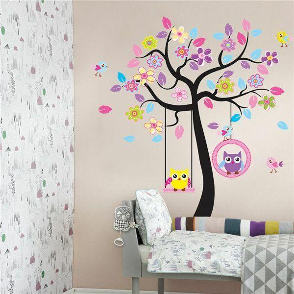 Wandtattoo Wandsticker Wandaufkleber Baum Eule Deko Kinderzimmer Xxl 7 Gunstig Kaufen Ebay