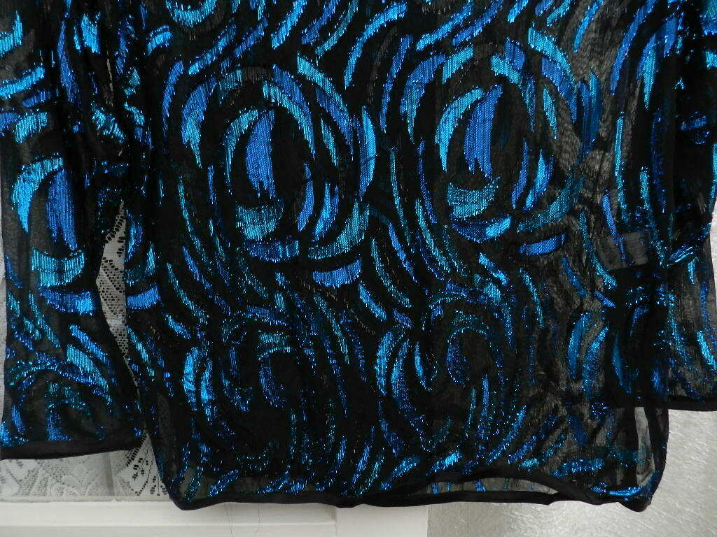 ( Ref 5150 ) Hamells - Size 10 - Blue & Black Metallic Long Sleeve Net Top BNWT