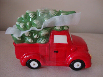 Ceramic Farmhouse Christmas Red Truck w//Christmas Tree Cookie Jar New!
