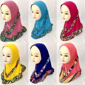 Muslim Kids Girls Full Cover Scarf Islamic Hijab Arab Headscarf Shawls Headwrap
