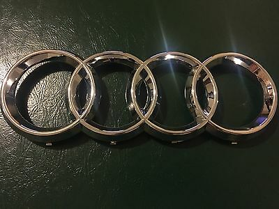 """06-12 AUDI BLACK FRONT GRILLE 4 RINGS Badge Emblem New A3 A5 A4 A6 A8 10.75/"""" US"""