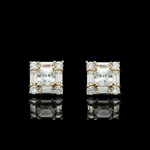 1-50CT-Princess-Baguette-Diamond-Cluster-Studs-Earrings-14K-Yellow-Gold-Finish