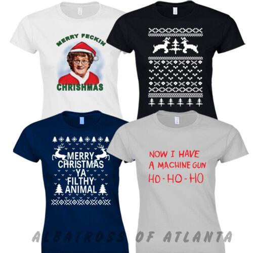 FILTHY ANIMAL MRS BROWN I Have A Machine Gun Ho Ho MERRY CHRISTMAS T-Shirt Tops