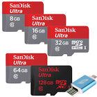SANDISK ULTRA micro SD SDHC SDXC 128GB 64GB 32GB 16GB 8GB 48MB LOT CLASS10 OTG