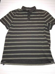 BANANA-REPUBLIC-FITTED-PIMA-POLO-Mens-size-XL-gray-green-striped-short-sleeve-T6