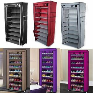 NEW-10-Tier-Shoe-Rack-Cabinet-30-Pairs-with-Cover-Wall-Bench-Shelf-Shoe-Tower