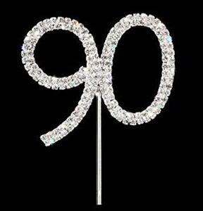 Numero-di-diamante-scegli-novantesimo-90-Strass-in-Cristallo-CAKE-TOPPER-COMPLEANNO