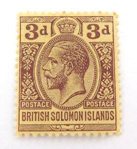BRITISH-SOLOMON-ISLAND-KGV-3d-MH-NICE-GRADE-STAMP