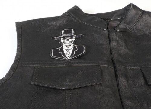 Preacher Skull Patch Embroidered Iron On Biker Skater Halloween