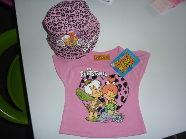 FLINTSTONES Really Cute Little Pink T-Shirt and Matching Hat NWT