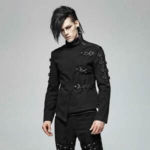Details zu PUNK RAVE Gothic Jacke Herren Schwarz Asymmetr. Design Karabiner Straight Jacket