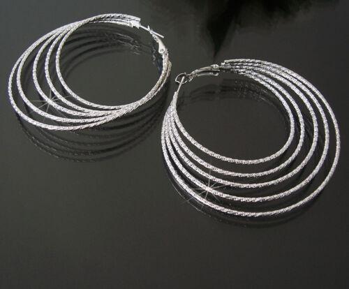 Aretes creolen 4-6cm plata chapados 5-reihig joyas señora pendiente o206
