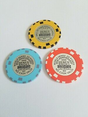 Binion/'s Horseshoe 500 Buy Ins 1992,93,95,95 Hall of Fame /& 1997 WSOP Chips