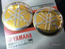 SALE !!! 2X YAMAHA GENUINE GOLD 55 mm 3D TUNING FORK LOGO  STICKER EMBLEM DECAL