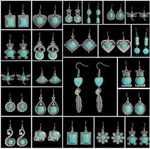 Fashion Tibetan Silver Vintage Turquoise Ear Hook Drop//Dangle Earrings Jewelry