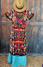 Traditional Black Valle Nacionale Hand Woven Huipil Oaxaca Mexican Tree of Life