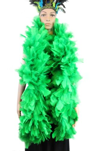 Long 10-11 inches Wide Heavyweight Boa Green 200 gram Large Feather Boa 2 Yards