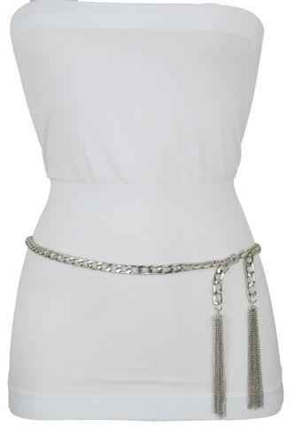 Women Silver Metal Chain Waistband Flashy Belt Tassel Charm Fringe Buckle M L XL