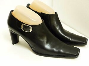 Black Leather Side Zip Ankle Boots | eBay