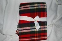 Noble Excellence Red Tartan Plaid Throw Blanket Fringe Ends 50 X 70 Holiday