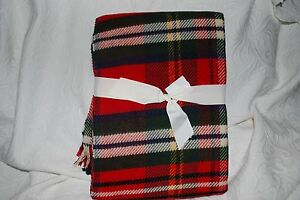 284e997849 Image is loading NOBLE-EXCELLENCE-RED-TARTAN-PLAID-THROW-BLANKET-FRINGE-