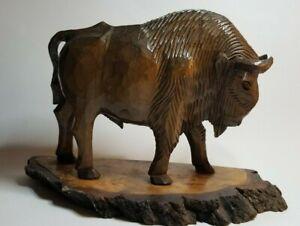 Vtg Polish Poland Carving Wood Wooden Hand Carved Bison Buffalo Figure Figurine