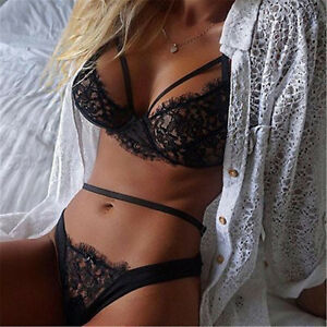 Womens Lingerie Underwear Lace Suit Bra G-string Bra Panties Set ... c6dbb334b