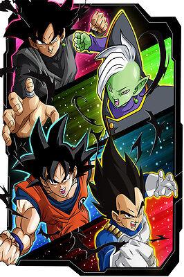 Dragon Ball Super Poster Black Goku//Zamasu Vegito Blue 12in x 18in Free Shipping