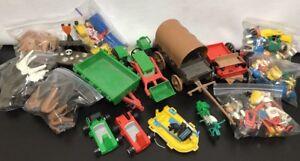 Misc Lot De 75 Playmobil Geobra Gens Chevaux Ferme Bateau Voiture Jouets