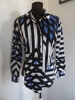 Worthington Shirt Size 2 Women Multi Color Longsleeve Graphic Pattern Buttondown