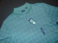 Nwt, Arrow Polo Shirt Large Green Windowpane Pattern Short Sleeves