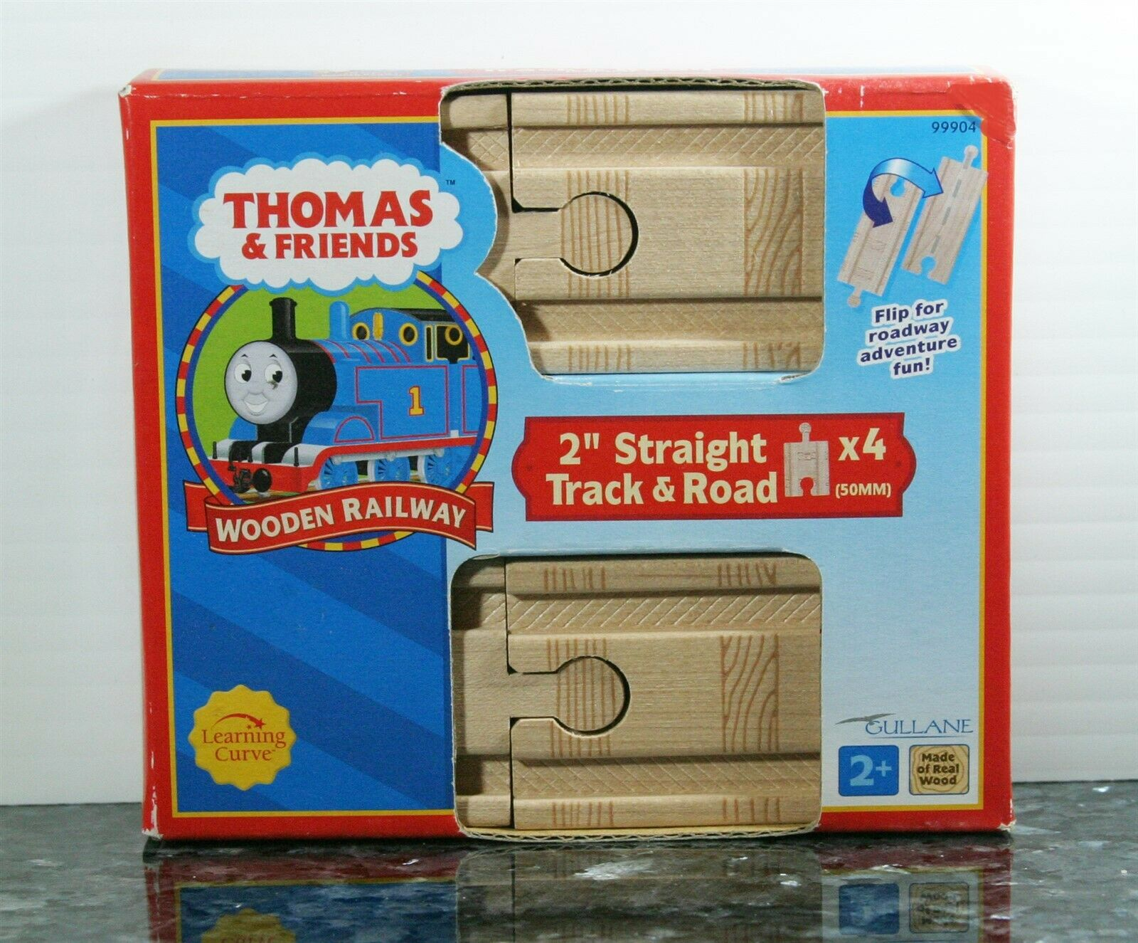 "Genuine Thomas /& Friends Wooden Railway Train Tank 2/"" Straight Track 6 Pc Lot"