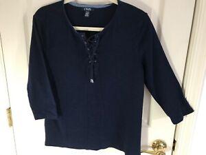 Woman-s-Chaps-size-XL-blue-tie-front-3-4-sleeve-round-neck-cotton-top
