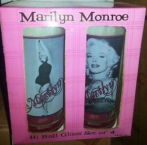 NEW IN BOX --MARILYN MONROE HI-BALL POSTER PHOTO GLASSES- NIB