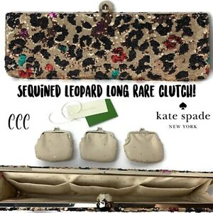 Kate-Spade-Gold-Multi-colored-Leopard-Ling-Vintage-Clutch-Coin-Bag-NWT