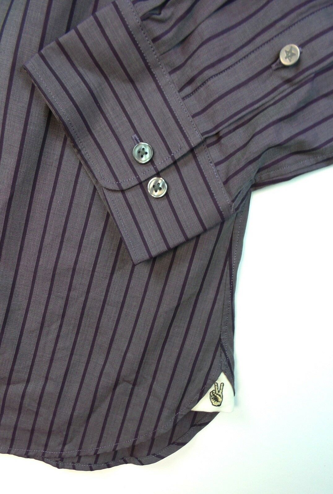 John Varvatos USA Slim Fit Purple Striped Dress Shirt Size 17 - 34 35