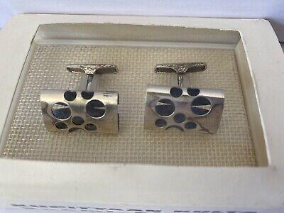 Vintage Modernist Sterling Silver with Cross Kupittaan Kulta Cufflinks Scandinavian
