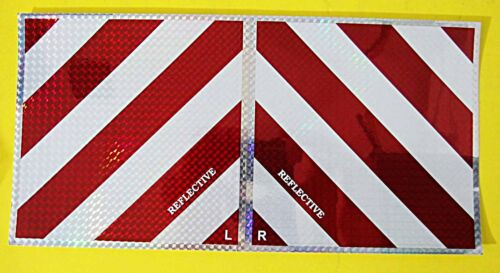 rechts  20 x 20 cm        062 2 x WARNTAFEL REFLEKTOR Hologramm rot weiß links