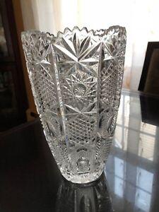 "Gentle Crystal Vase 10"" Top Watermelons Art Glass Bohemian/czech"