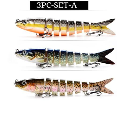 3PC//Set Artificial Pike Swimbait Muskie Fish Bait Lifelike Swimlure Fishing Lure