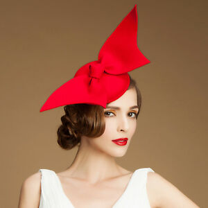 4457d7a4498 Image is loading Angel-Wings-Ladies-Felt-Wool-Fascinator-Cocktail-Formal-