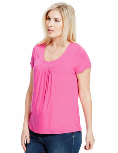 Marks /& Spencer Womens Short Sleeve Pink Pleated Top New M/&S Plus Size T-Shirt