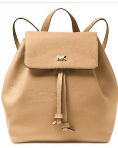 faf90fcb39e4 New michael kors Junie Flap bag leather MK logo Backpack Drawstring ...