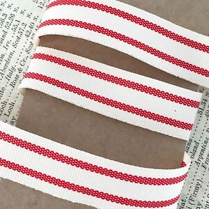 15mm Vintage Red /& Cream Ticking Stripe Cotton Ribbon Rustic 1m 20m Full Roll