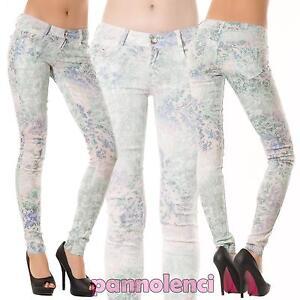 Pantaloni donna stretch tapestry floreale verdi elasticizzati SKINNY S05-2