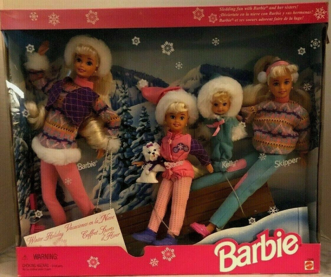 1995 WINTER HOLIDAY GIFT SET Barbie Skipper Stacie Kelly Koko