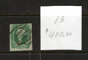 USA, Confederate sSates, 20 cent green Washington, No 13, cat value $400 (3849