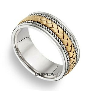 image is loading 18k two tone gold mens braided handmade wedding - Two Tone Wedding Rings