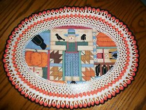 New Handmade Oval Crochet Doily--Fall/Scarecrow/Crows