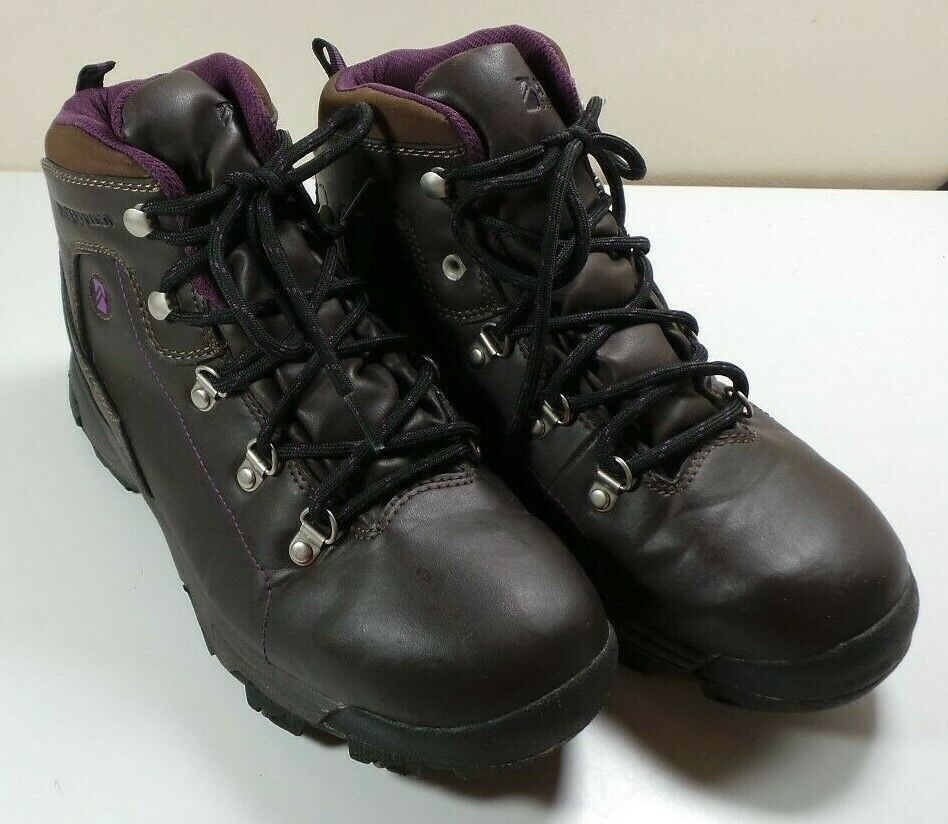 Women's Alpine Design Brown Purple Waterproof Ankle Hiking Boots Size 9 Work